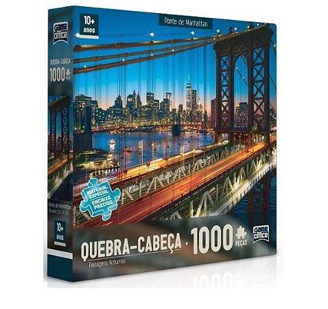 Quebra-Cabeça Puzzle Game Office 1000 Peças Paisagens Noturnas: Ponte de Manhattan