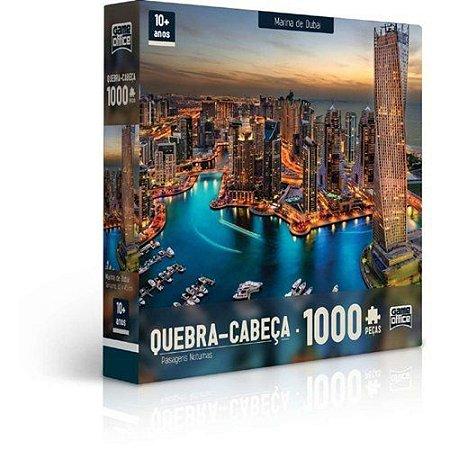 Quebra-Cabeça Puzzle Game Office 1000 Peças Paisagens Noturnas: Marina De Dubai