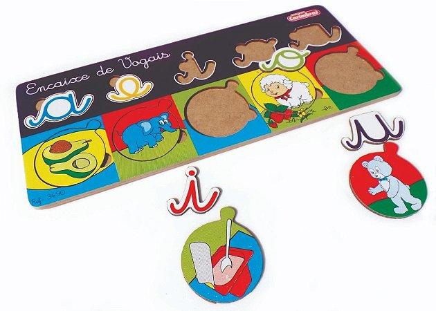 Encaixe de Vogais em Madeira Carimbras - Brinquedo Educativo em Madeira