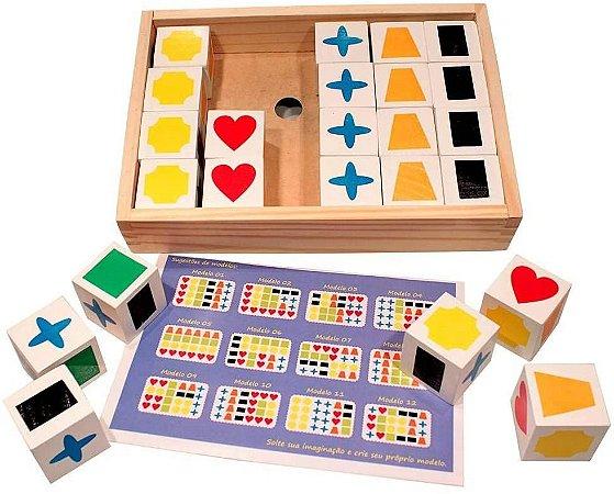 Cubos de Memória 24 Peças em Madeira Carimbras - Brinquedo Educativo em Madeira
