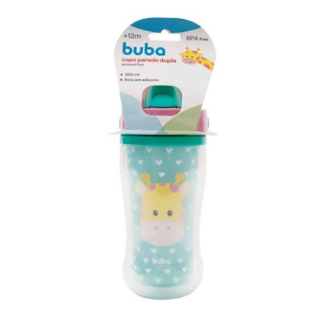 Copo Infantil Parede Dupla Girafa Buba Azul