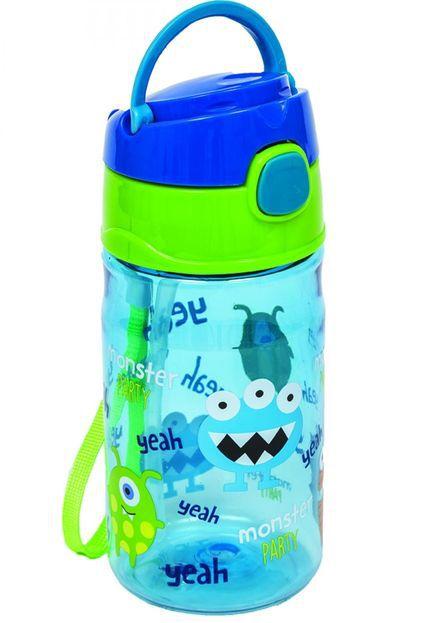 Garrafinha Infantil Com Canudo Monster Party Buba Azul
