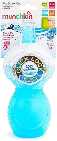 Copo Infantil Com Canudo Click Lock Munchkin Azul