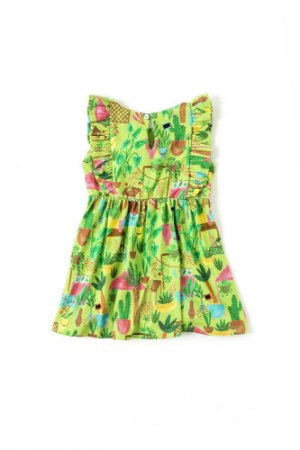 Vestido Fábula Bebê Malha Hierbas Verde