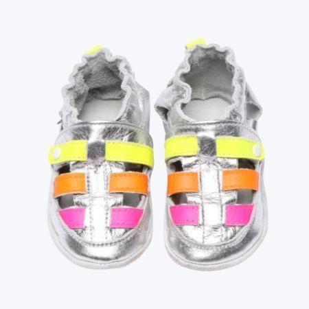 Sapatinho Infantil Babu Uabu Pantufa Franciscana Neon - Prata