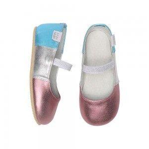 Sapatilha Infantil Babu Uabu Bailarina Tricolori Metalizada - Rosa, Prata e Azul