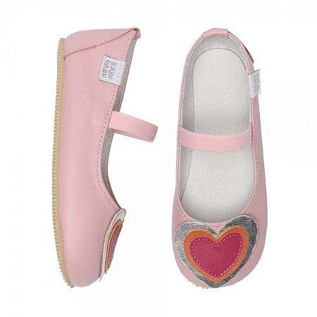 Sapatilha Infantil Babu Uabu Bailarina 3 Corações - Rosa Bebê
