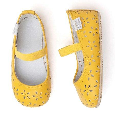 Sapatilha Infantil Babu Uabu Bailarina Flores - Amarelo