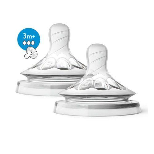 Bico de Mamadeira Pétala fluxo moderado 3m+ Avent Transparente Kit com 2 unidades