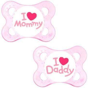 Chupeta Mom & Dad 0-6m MAM Rosa Kit com 2 unidades