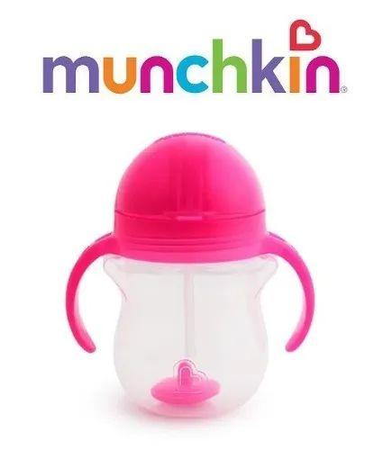 Copo Infantil Treinamento com Canudo Click Lock Click Munchkin Rosa