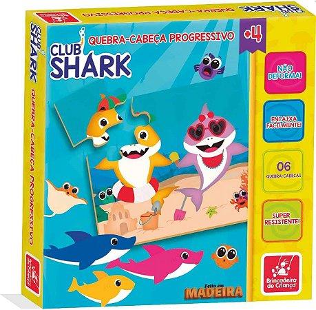 Kit com 6 Quebra-Cabeça Club Shark Brincadeira de Criança