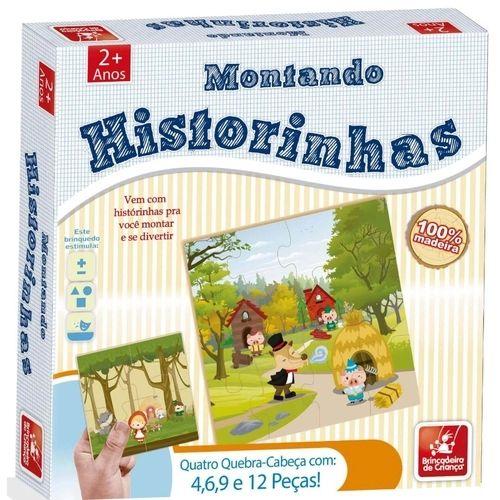 Kit com 4 Quebra-Cabeça Montando Historinhas Brincadeira de Criança