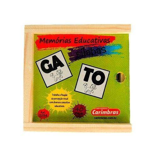 Jogo da Memoria de Silabas Carimbras - Brinquedo Educativo em Madeira