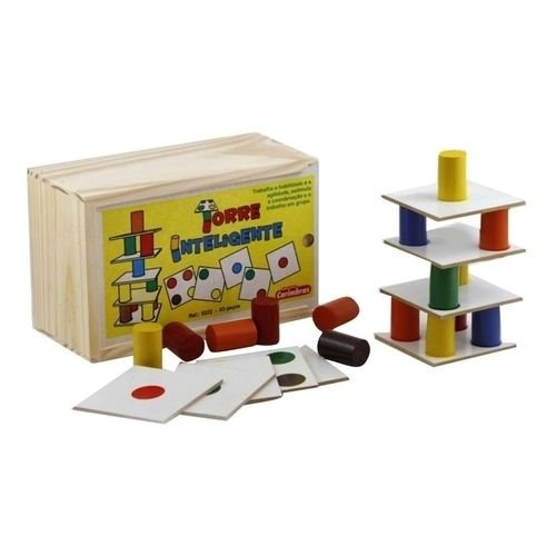 Brinquedo de Madeira Torre Inteligente Carimbras - Brinquedo Educativo em Madeira