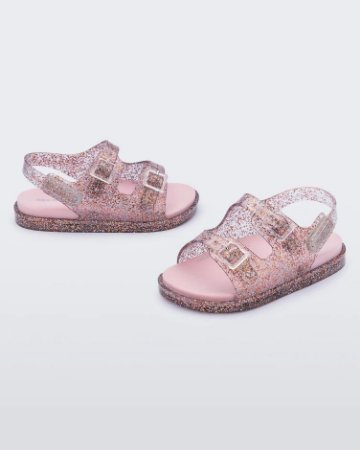 Sandália Mini Melissa Wide Sandal Baby Rosa Glitter