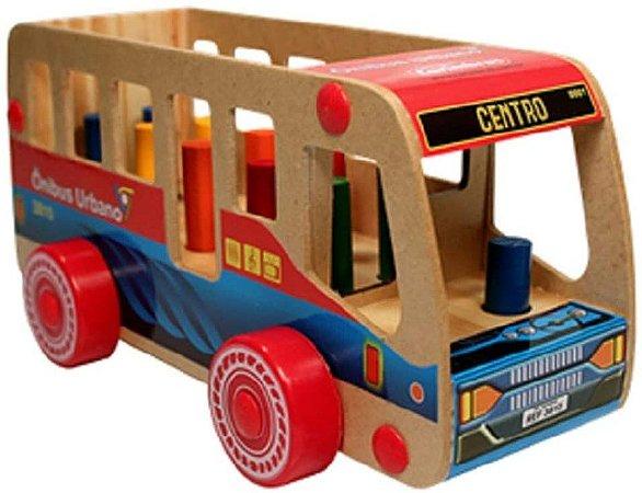 Brinquedo de Madeira Ônibus Urbano Carimbras - Brinquedo Educativo em Madeira