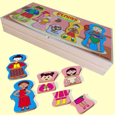 Brinquedo de Madeira Etnias Minha Família Carimbras - Brinquedo Educativo em Madeira