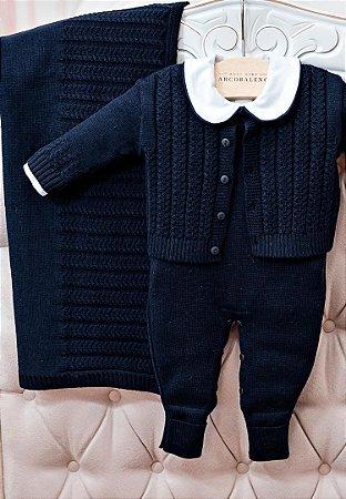 Conjunto Saída de Maternidade Tricot Azul Marinho 10016