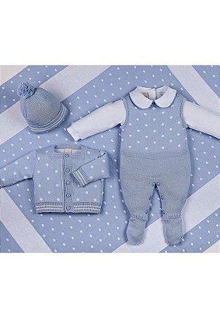 Conjunto Saída de Maternidade Azul Poá 10015