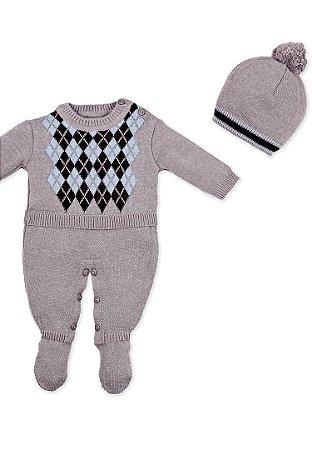 Macacão Bebê Tricot com Touca Cinza 10009