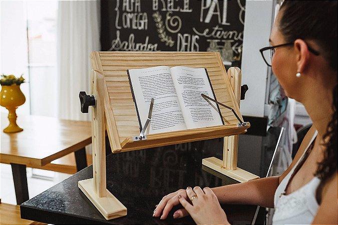 Suporte de mesa para leitura de livros com prendedor de páginas