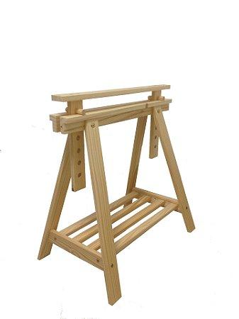 Cavalete decorativo em madeira regulável com prateleira - 1 und