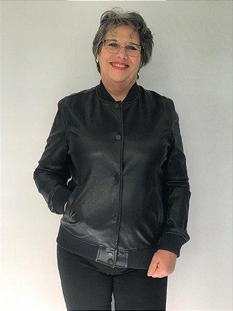 Jaqueta em couro com punho