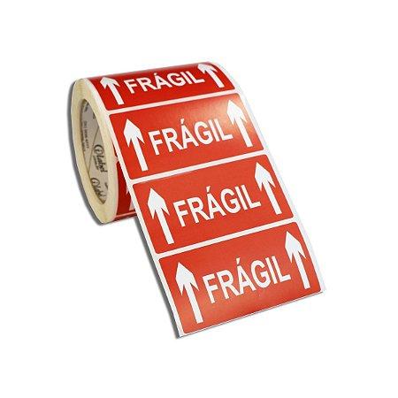 Etiqueta Frágil 100x50mm Couché adesivo borracha para caixa de papelão embalagem