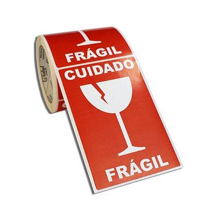Etiqueta Frágil 100x150mm Couché adesivo borracha para caixa de papelão embalagem