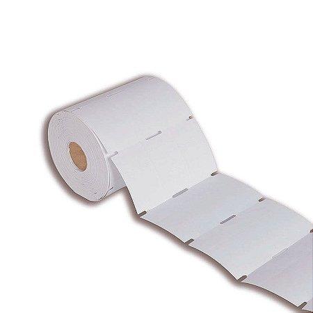 Etiqueta tag roupa 35x60mm (3 colunas) sem picote Couché cartão para Zebra Argox Elgin - Rolo com 1500 (30m)