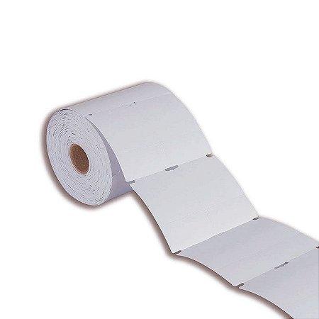 Etiqueta tag roupa 50x75mm (2 colunas saída em pé) sem picote Couché cartão grosso para Zebra Argox Elgin - Rolo com 800 (30m)