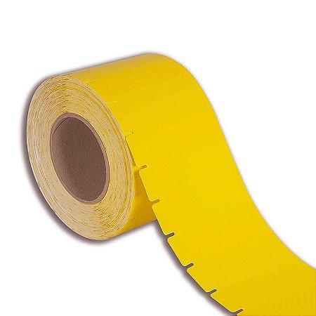 Etiqueta de Gôndola 105x40mm Couché cartão Amarela para impressora térmica industrial - Rolo com 1500 (60m) Tubete 3 polegadas