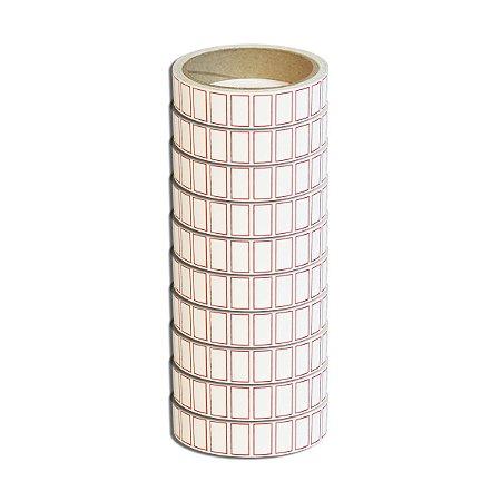 Etiqueta 20x12mm adesiva borda vermelha Multiuso preço para escrever - 10 rolos