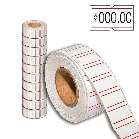 Etiqueta refil Etiquetadora Fixxar MX-4400 (21x12mm) com tarja - 10 rolos