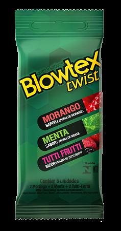 Preservativo Blowtex Twist (Morango, Menta E Tutti Frutti) - 6 Unidades