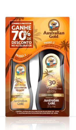 Australian Gold Spray Gel FPS 30 + Acelerador de Bronze
