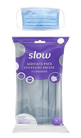 Máscara Slow  03 Camadas Descartável Com 10 Unidades