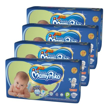 Kit Com 04 Pacotes Fralda MamyPoko Fita Tamanho P