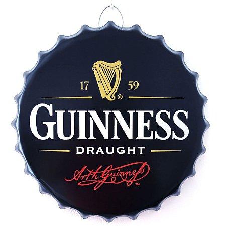 Tampa decorativa cerveja Guinness em metal