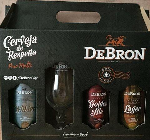 Kit Presente DeBron 3 estilos + 1 taça - (1 DeBron Vienna Lager + 1 DeBron Witbier + 1 DeBron Golden Ale - 500ml)
