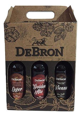 Kit Presente DeBron 3 estilos -  DeBron Lager, DeBron Golden Ale e DeBron Vienna Lager - 500ml