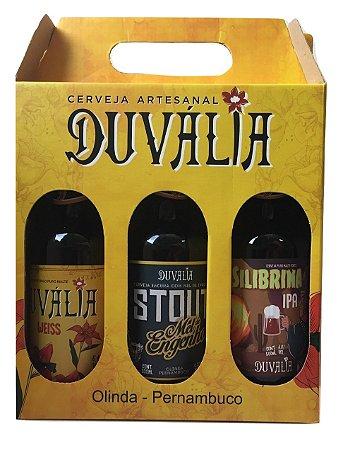 Kit presente 3 cervejas Duvália - Weiss, Stout Mel de Engenho e IPA Silibrina - 500ml