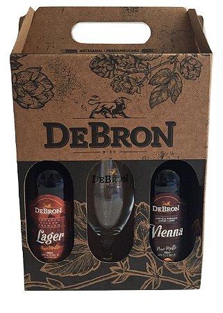 Kit Presente DeBron 2 estilos + 1 taça -  DeBron Lager e DeBron Vienna Lager - 500ml