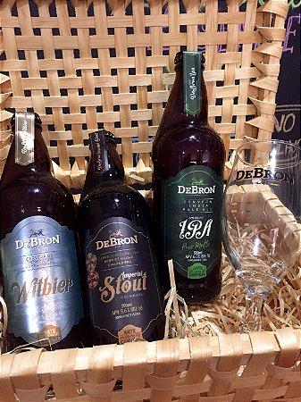 Kit pronto para presente - 3 cervejas DeBron + 1 taça DeBron + caixa de madeira