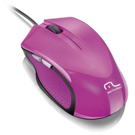 Mouse Gamer Multilaser Laser  Rosa USB 6 Botões MO-201