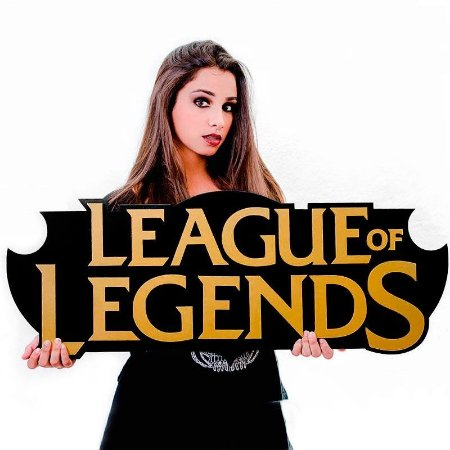 Quadro Decorativo Gamer League Of Legends Logo em Mdf Alto Relevo 90 x 35 cm