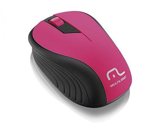 Multilaser Mouse sem Fio 2.4GHz 1200dpi MO214 Preto/Rosa