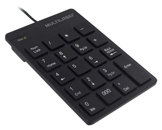Teclado Numerico Multilaser Com Fio Usb Teclas Chocolate Preto Tc197