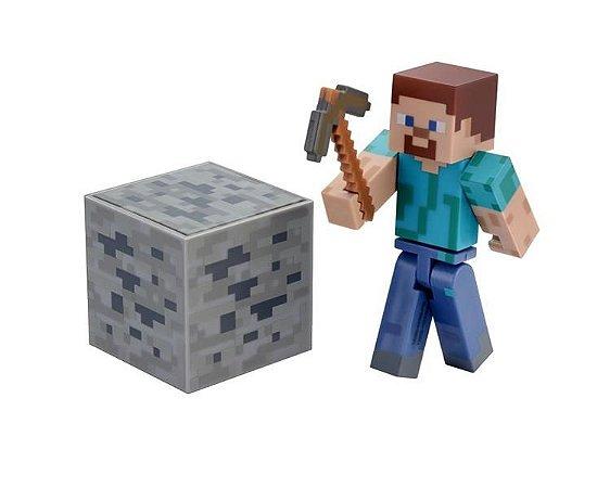 Minecraft Boneco Steve Com Acessórios